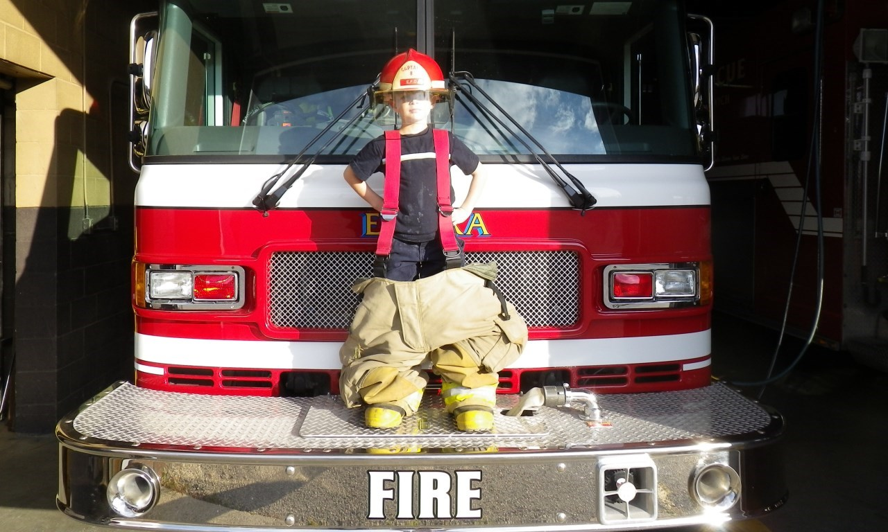 child with firetruck